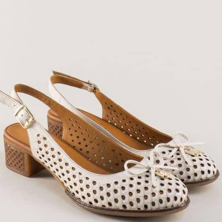 Дамски обувки от бежова естествена кожа на нисък ток 2234bj