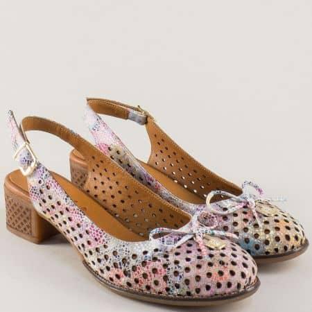 Пъстри дамски обувки с отворена пета и декорация  2234ps