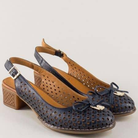 Кожени дамски обувки на каучуково ходило в син цвят 2234s
