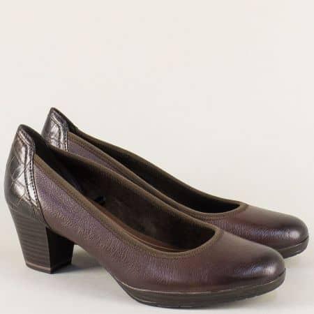 Немски дамски обувки в тъмно кафяв цвят на среден ток с Anti- shock система 2241829kk