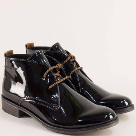 Черни дамски боти с връзки на нисък ток- Marco Tozzi  225118lch