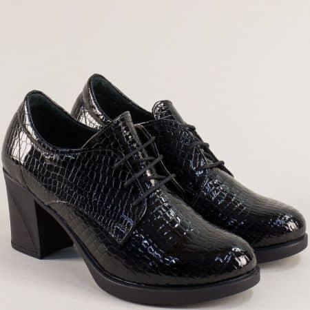 Черен лак дамска обувка SISI на висок ток 22512krlch