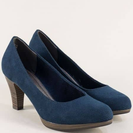 Перфорирани дамски обувки на висок ток в син цвят 222445nss