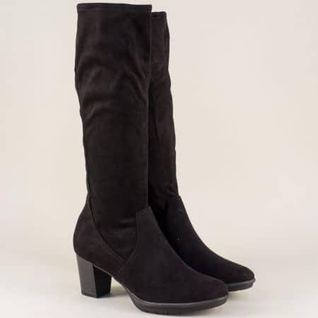 Дамски ботуши в черен цвят на висок ток- Marco Tozzi  225513vch