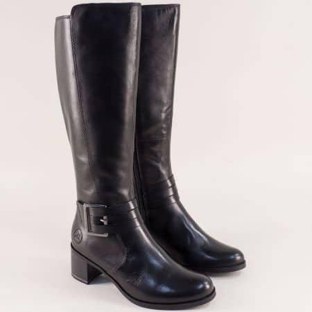 Черни дамски ботуши на среден ток от естествена кожа 225524ch