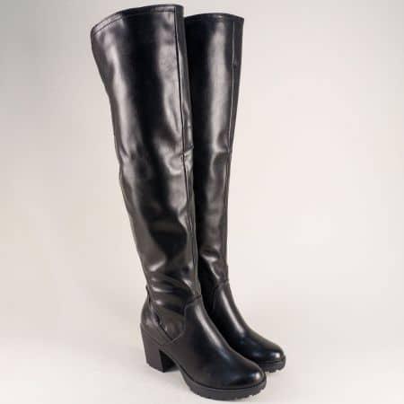 Дамски ботуши над коляното в черен цвят- Marco Tozzi 225604ch