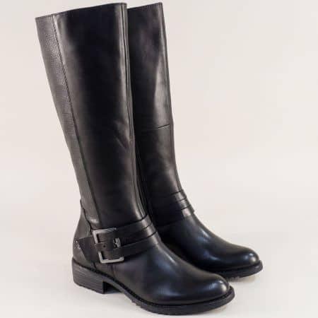 Дамски ботуши на нисак ток с грайфер в черен цвят 225609ch