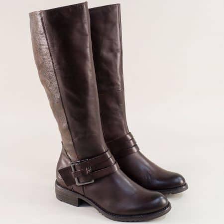 Тъмно кафяви дамски ботуши от естествена кожа 225609kk