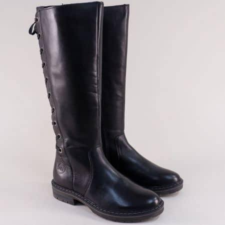 Черни дамски ботуши от естествена кожа с грайфер 225613ch