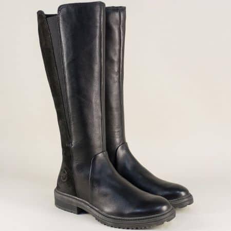 Черни дамски ботуши с грайфер от естествена кожа 225622ch