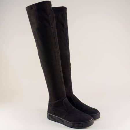 Дамски ботуши над коляното в черен цвят- Marco Tozzi  225625vch