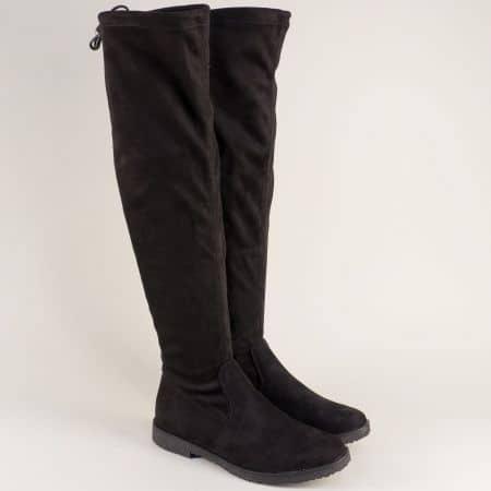Черни дамски ботуши с цип на нисък ток- Marco Tozzi 225645vch