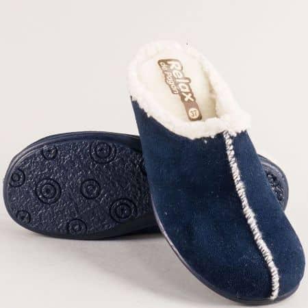 Дамски домашни пантофи в тъмно син цвят- RELAX 2258s