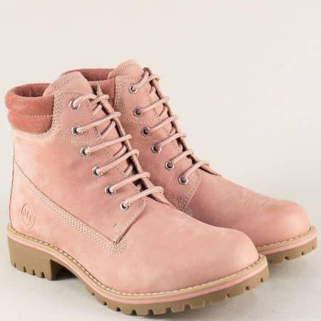 Розови дамски боти Marco Tozzi от естествен набук на комфортно ходило 226248nrz