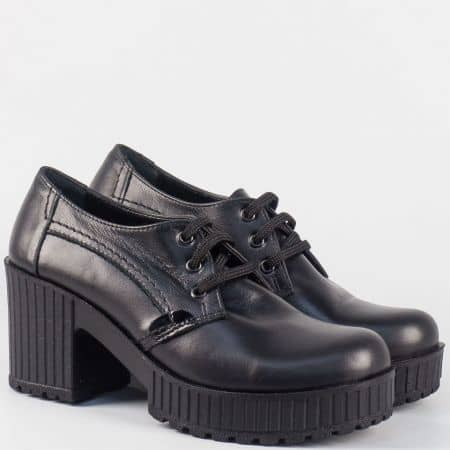 Кожени дамски обувки с връзки в черен цвят на висок ток и платформа 226443ch