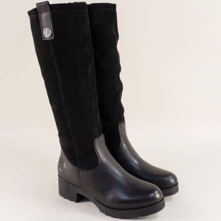 Дамски ботуши от естествен велур и кожа в черен цвят 226636ch