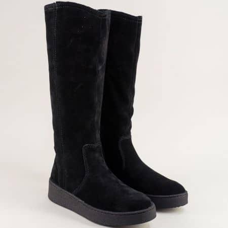 Немски дамски черни ботуши на платформа от естествен велур 226675vch