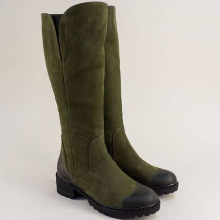 Зелени дамски ботуши естествен набук с ток 226nz