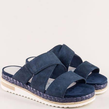Тъмно сини дамски чехли от сатен и естествена кожа 227121ss