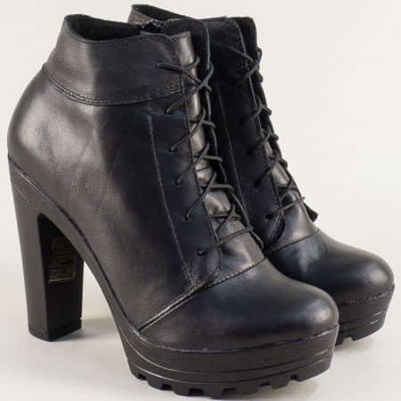 Български дамски боти на висок ток от естествена кожа в черен цвят 22715493ch1