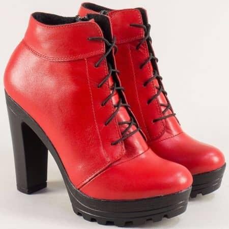 Червени дамски боти на висок ток от кожа на български производител 22715493chv