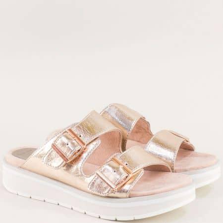Дамски чехли в розово злато с две катарами- Marco Tozzi  227206rz