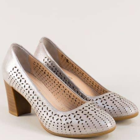 Перфорирани дамски обувки на висок ток в сив цвят 227215515ssv