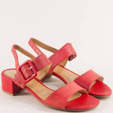 Червени дамски сандали с катарама от естествена кожа 228215chv