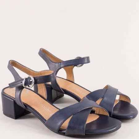 Сини дамски сандали на нисък ток от естествена кожа 228216s