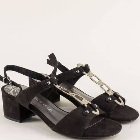 Дамски сандали на среден ток в черен цвят- Marco Tozzi  228312vch
