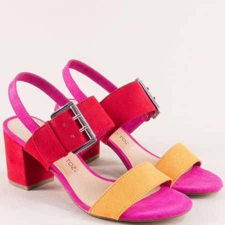 Дамски сандали на висок ток в циклама, червено и кафяво 228323vps