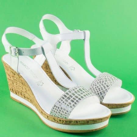 Дамски сандали на платформа в бяло и сребро- Marco Tozzi  228364b