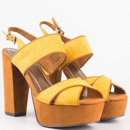 Жълти дамски сандали на висок ток с Memory пяна от немският производител Marco Tozzi 228366vj