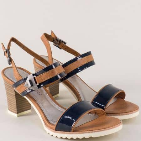 Дамски сандали на висок ток в кафяво и синьо- Marco Tozzi  228704ls