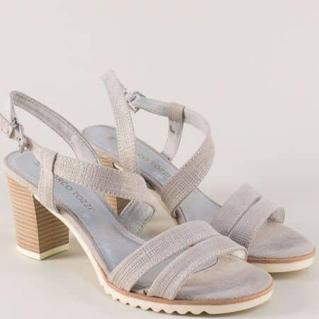Немски дамски сандали Marco Tozzi в сив цвят на висок ток 228705sv