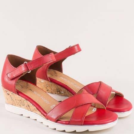 Червени дамски сандали на клин ходило с Memory пяна 228725chv