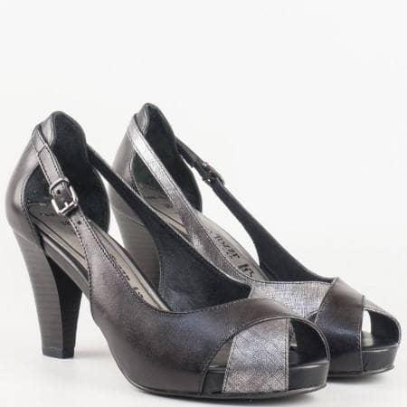 Дамски удобни сандали от висококачествена естествена кожа, с кожена стелка на немската марка Marco Tozzi в черен цвят 229300ch