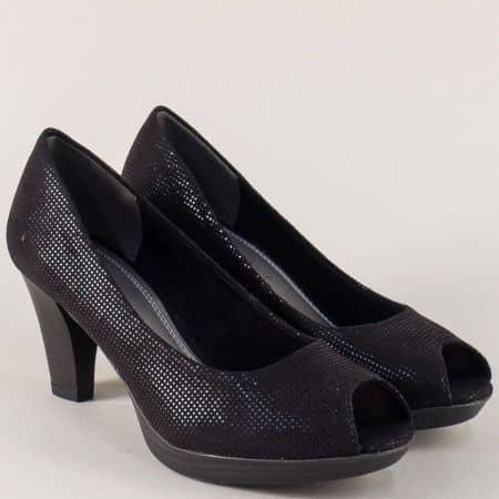 Черни дамски обувки с отворени пръсти- Marco Tozzi 22930228ch