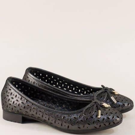 Перфорирани дамски обувки от естествена кожа в бронз 2294717brz