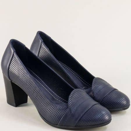 Кожени дамски обувки на висок ток с перфорация в син цвят 2296s