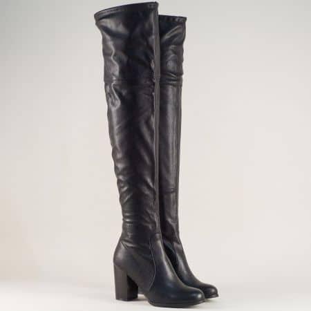 Дамски ботуши, тип чизми на висок ток в черен цвят 2299ch