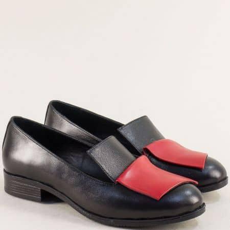 Дамски обувки от естествена кожа в червено и черно 2229chchv