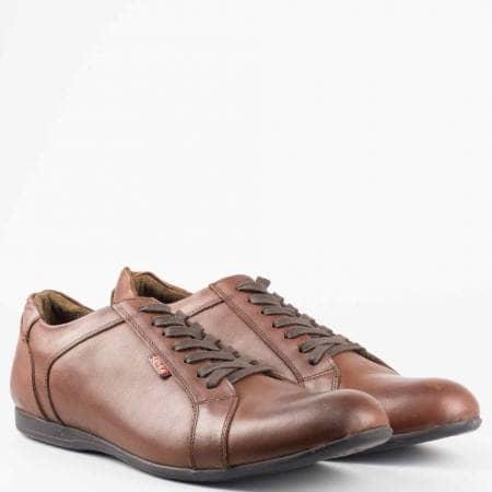Тъмно кафяви мъжки обувки с връзки от естествена кожа m22gk