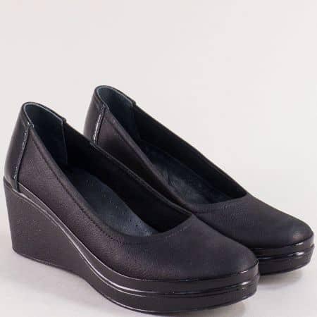 Черни дамски обувки от естествен лак, кожа и сатен 2300sch
