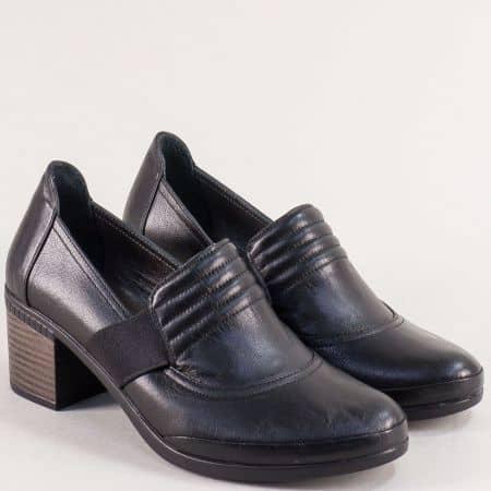Дамски обувки в черен цвят на среден ток с кожена стелка 2309559ch