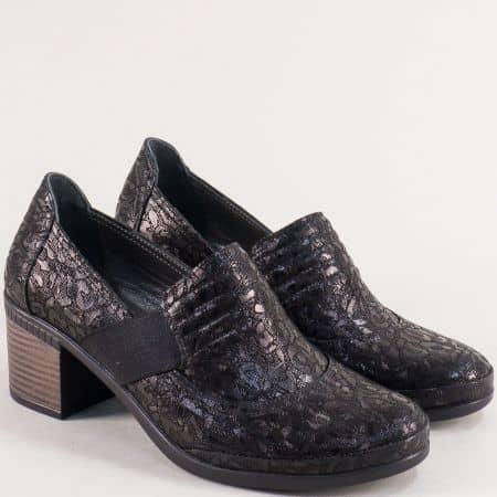 Черни дамски обувки от естествена кожа с ефектен принт 2309559chps