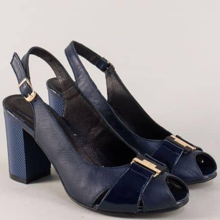 Тъмно сини дамски обувки от естествена кожа на висок стабилен ток 23208ls