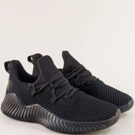 Спортни мъжки обувки в черен цвят на удобно ходило 2327ch