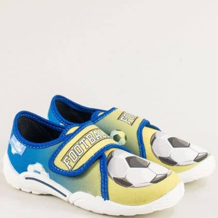 Детски пантофи в синьо и жълто с лепка 23373neon