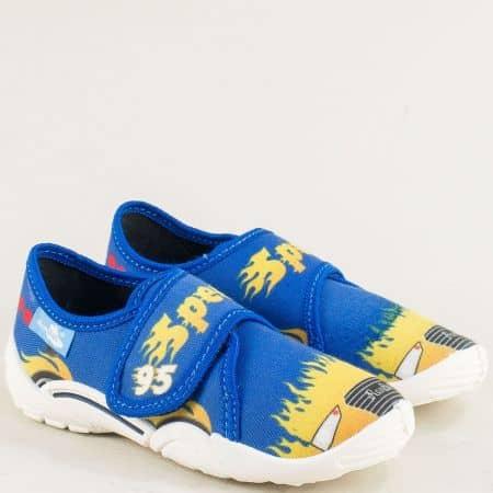 Детски обувки, тип пантофки с лепенки в син цвят 23373s